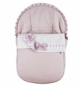 Saco silla grupo 0 bebé verano Piqué Plumeti rosa Rosy Fuentes