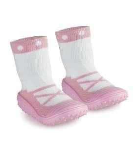 Zapatilla/calcetín bebé primeros pasos +6 rosa MS