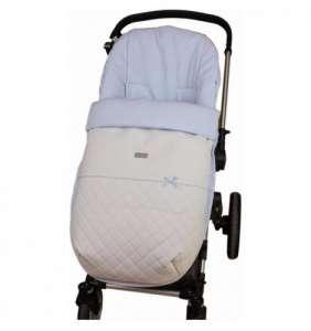 Saco silla bebé invierno Piel Lencero blanco/azul Rosy Fuentes